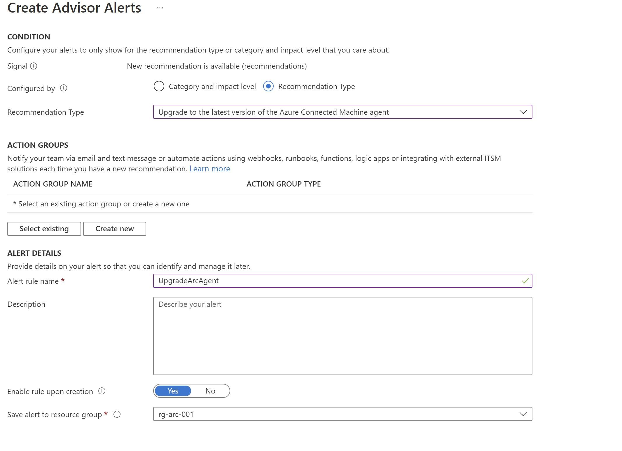 Azure Advisor alert