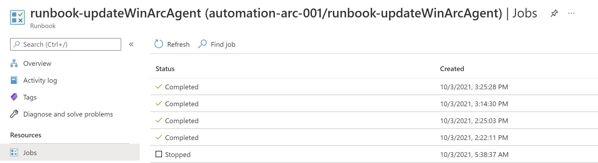 runbook jobs